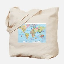World Map For Kids - Hand Drawn Design Tote Bag