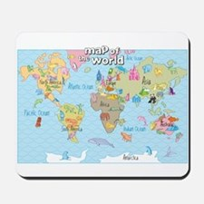 World Map For Kids - Hand Drawn Design Mousepad