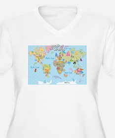 World Map For Kids - Hand Drawn Design Plus Size T
