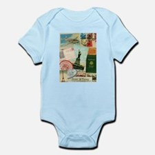 Vintage Passport travel collage Body Suit