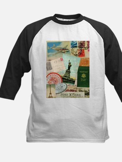 Vintage Passport travel collage Baseball Jersey