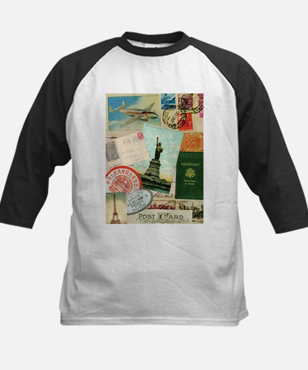 Vintage Passport travel collage Baseball Jersey