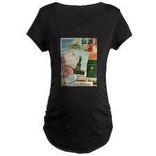 Vintage Passport travel collage Maternity T-Shirt