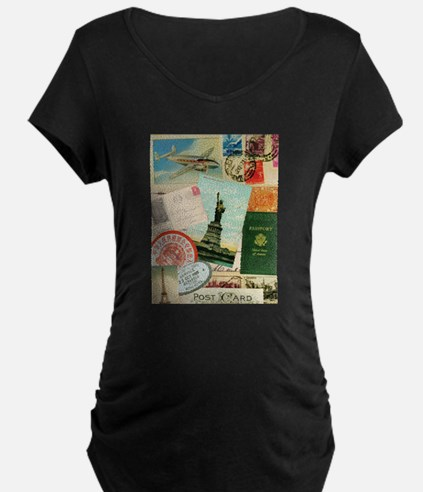 Vintage Passport travel collage Maternity T-Shirt