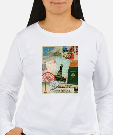 Vintage Passport travel collage Long Sleeve T-Shir