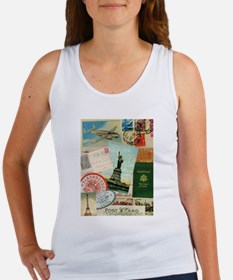 Vintage Passport travel collage Tank Top