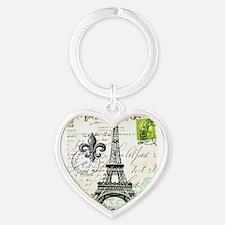 Vintage French Carte Postale Eiffel Tower Keychain