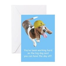 Basset Hound Birthday with Hard Hat Greeting Card