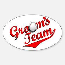 Baseball Groom's Team Oval Decal