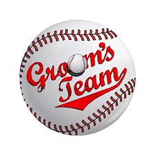 "Baseball Groom's Team 3.5"" Button"