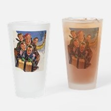 Vintage Christmas Family Sledding Drinking Glass