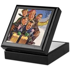 Vintage Christmas Family Sledding Keepsake Box