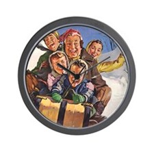 Vintage Christmas Family Sledding Wall Clock