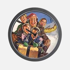 Vintage Christmas Family Sledding Wall Clock