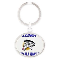 3-Zebra841 Oval Keychain