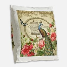 Vintage French Peacock and roses Burlap Throw Pill