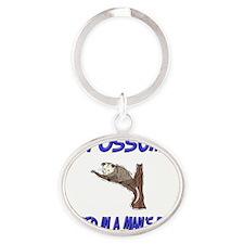 Opossum74147 Oval Keychain