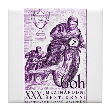 Vintage 1955 Czechoslovakia Motorcycle Race Stamp