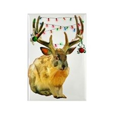 Christmas Jackalope Rectangle Magnet