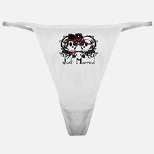 Just Married Skulls Classic Thong