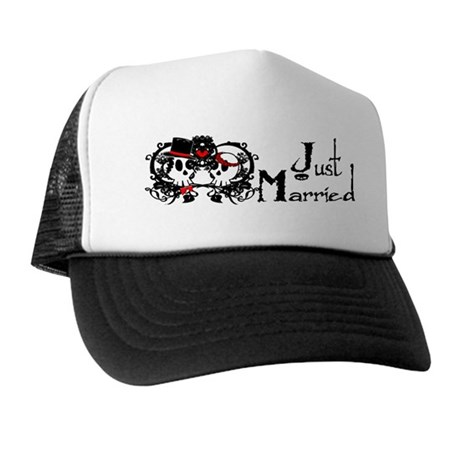 Just Married Skulls Trucker Hat