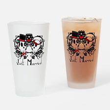 Just Married Skulls Drinking Glass