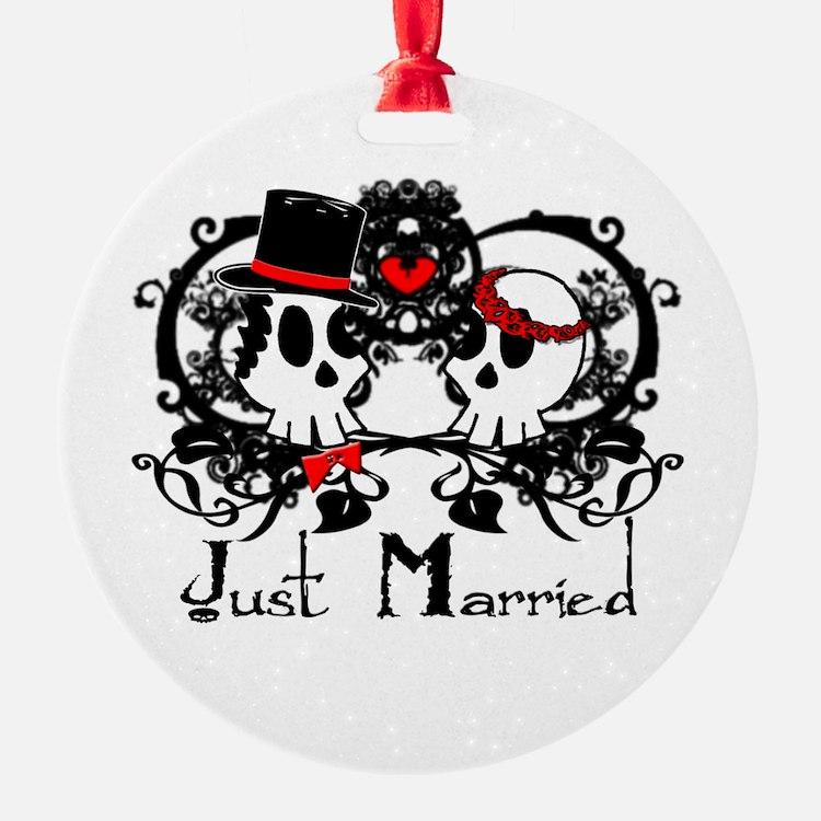 Just Married Skulls Ornament