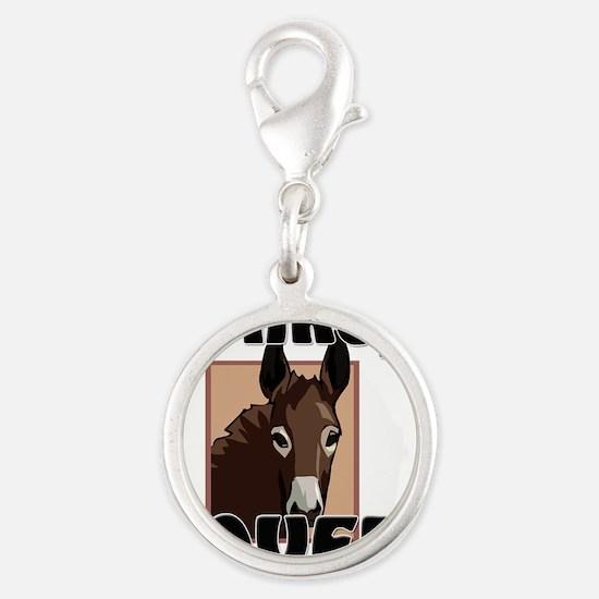 Donkey26295 Silver Round Charm