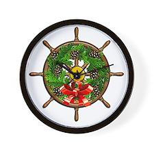Nautical Ships Wheel Wreath with Bow Wall Clock