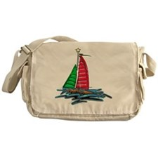 Red & Green Christmas Sailboat Messenger Bag