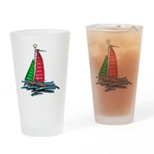 Red & Green Christmas Sailboat Drinking Glass