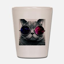 Cool Kitty Cat in Glasses Shot Glass