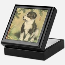 Vintage Christmas Puppy Keepsake Box