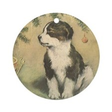 Vintage Christmas Puppy Round Ornament