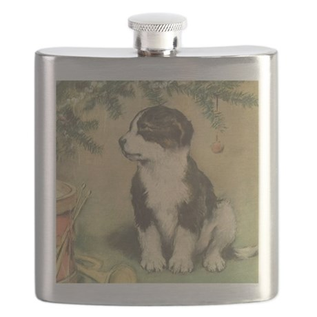 Vintage Christmas Puppy Flask