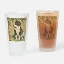Vintage Christmas Puppy Drinking Glass