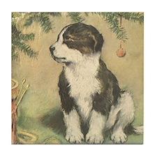 Vintage Christmas Puppy Tile Coaster