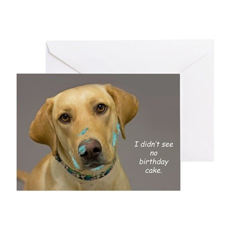 Yellow Lab Cake Face Birthday Greeting Card