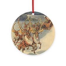 Vintage Christmas Santa Claus Round Ornament