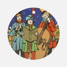 Vintage Christmas Carolers Round Ornament
