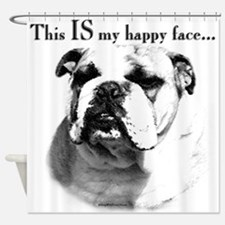 Bulldog Happy Face Shower Curtain