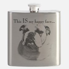 Bulldog Happy Face Flask