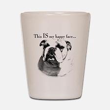 Bulldog Happy Face Shot Glass