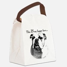 Bulldog Happy Face Canvas Lunch Bag