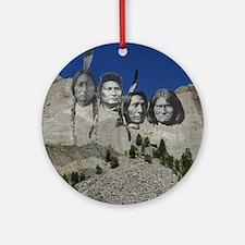 Native Mt. Rushmore Ornament (Round)