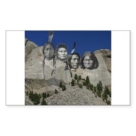 Native Mt. Rushmore Rectangle Sticker