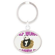 PANDA-BEAR73138 Oval Keychain
