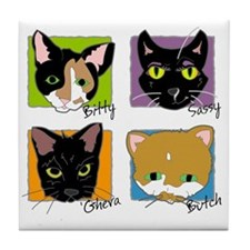 Cute Sassy cat Tile Coaster