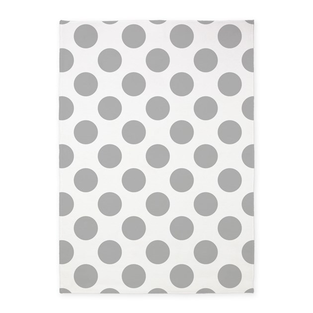 Light Gray White Big Polka Dots 5'x7'Area Rug By HHTrendyHome