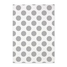 Light Gray White Big Polka Dots 5'x7'Area Rug